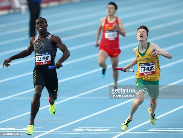 Luke Stevens of Australia competes in mixed 2x300 metre relay during the Melbourne Nitro Athletics Series at Lakeside Stadium on February 11 2017 in...