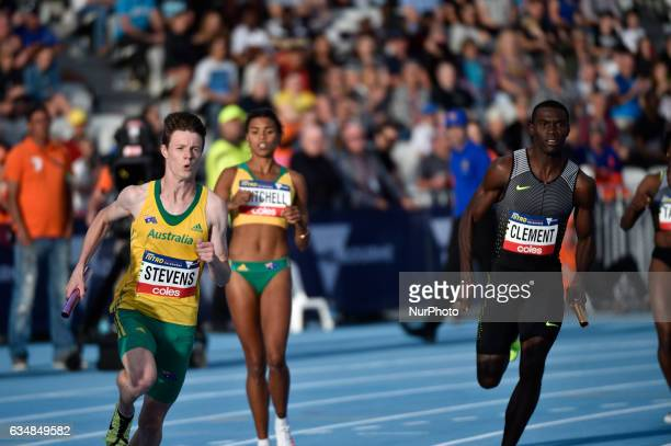 Luke Stevens of Australia Mitchell Morgan of Australia in the background and Kerron Clement of the Bolt All Stars on the right competing in the mixed...