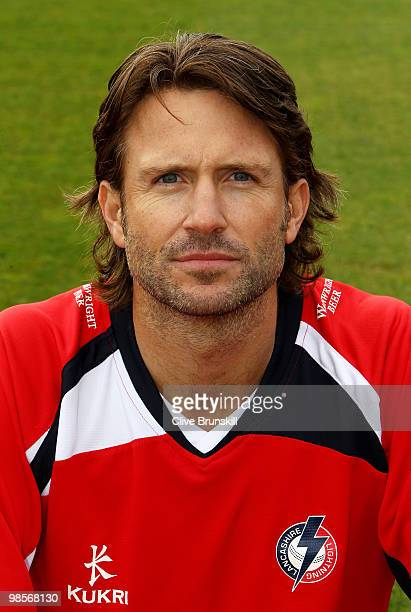 Luke Sutton of Lancashire poses for a portrait during the Lancashire CCC photocall at Old Trafford on April 12 2010 in Manchester England