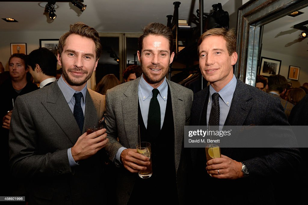 Luke Sweeney Jamie Redknapp and Thom Whiddett attends the opening of the new Thom Sweeney RTW MTM Store on November 13 2014 in London England