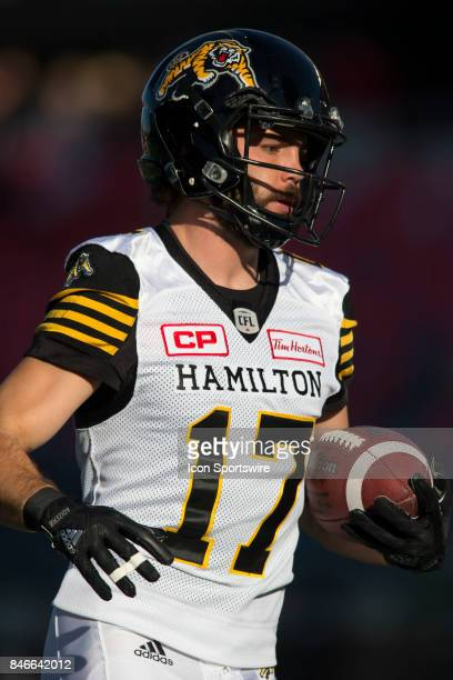 Luke Tasker of the Hamilton TigerCats in Canadian Football League Action at TD Place Stadium in Ottawa Canada on Saturday September 9 2017 The...