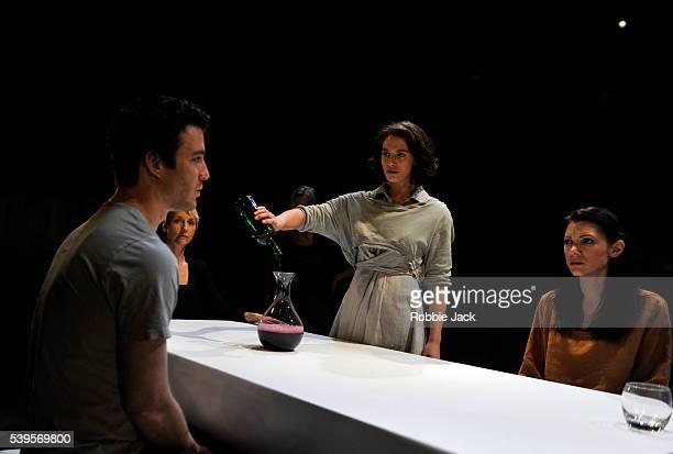 Luke Thompson Lia Williams Annie Firbank Jessica Brown Findlay and Hara Yannas in Aeschylus's Oresteia directed by Robert Icke at the Almeida Theatre...