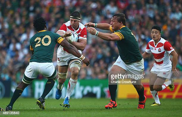 Luke Thompson of Japan drives forwards during the 2015 Rugby World Cup Pool B match between South Africa and Japan at the Brighton Community Stadium...