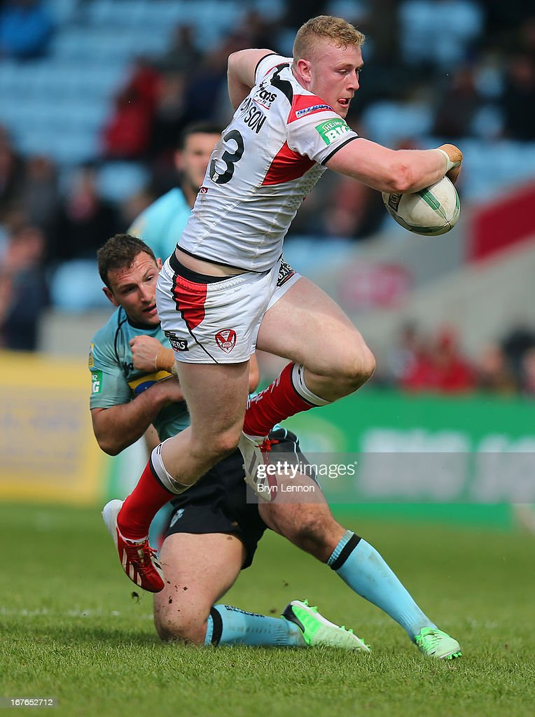 Luke Thompson of St Helens in action during the Super League match between London Broncos and St Helens at Twickenham Stoop on April 27, 2013 in London, England.