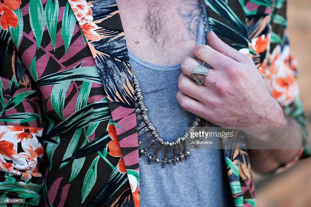 Luke Tonkin photographer / stylist wears a Zara jacket, Nobody t-shirt, with a necklace from a flea market in Morocco, and ring from a Sydney market, on July 28, 2015 in Melbourne, Australia.