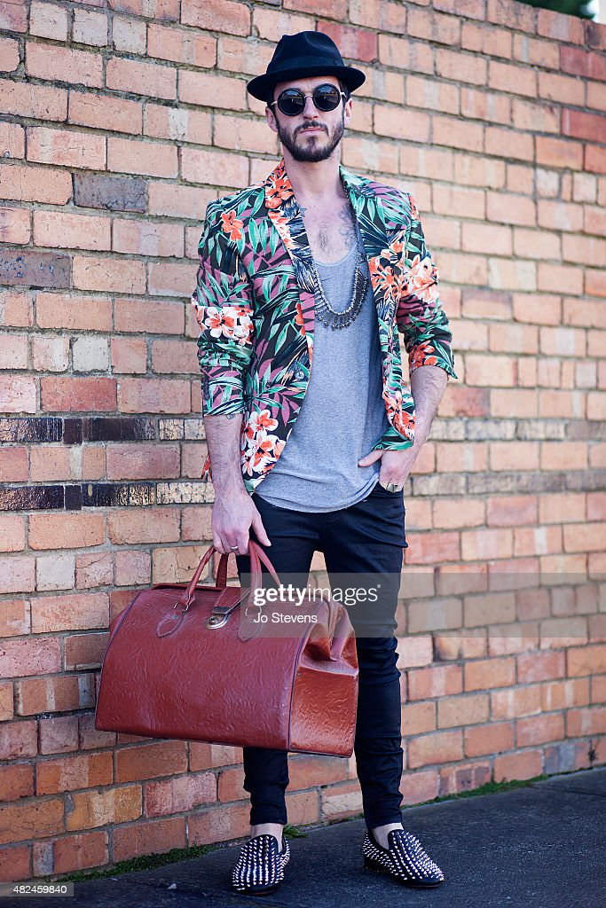 Luke Tonkin photographer / stylist wears Le Spec sunglasses, Zara jacket, Nobody t-shirt, with a necklace from a flea market in Morocco, Lee Jeans, Louis Burton shoes with a vintage doctors bag and ring from a Sydney market, on July 28, 2015 in Melbourne, Australia.