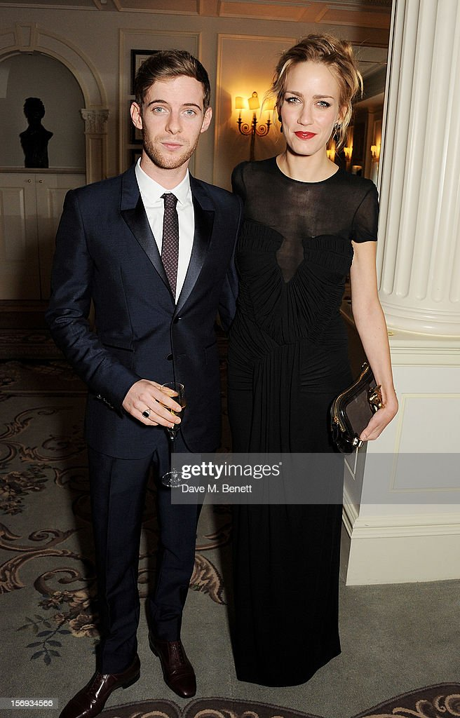 Luke Treadaway and Ruta Gedmintas attend a drinks reception at the 58th London Evening Standard Theatre Awards in association with Burberry at The...