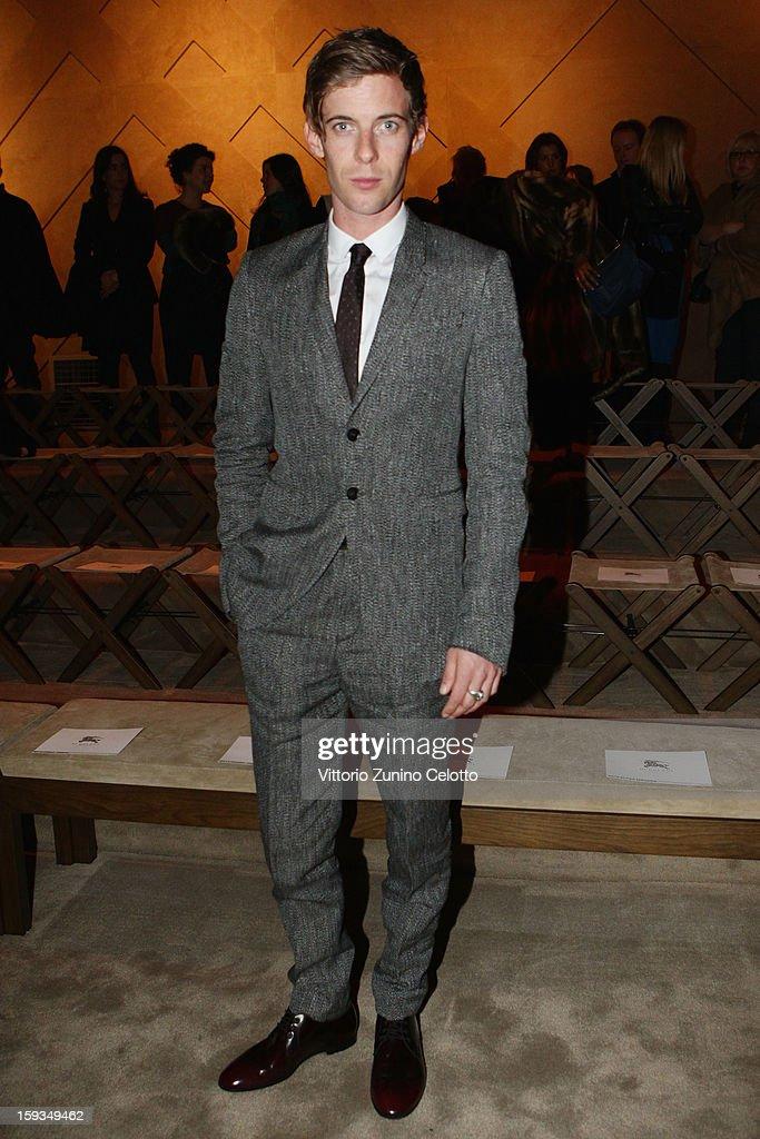 Luke Treadaway attends the Burberry Prorsum show as part of Milan Fashion Week Menswear Autumn/Winter 2013 on January 12 2013 in Milan Italy