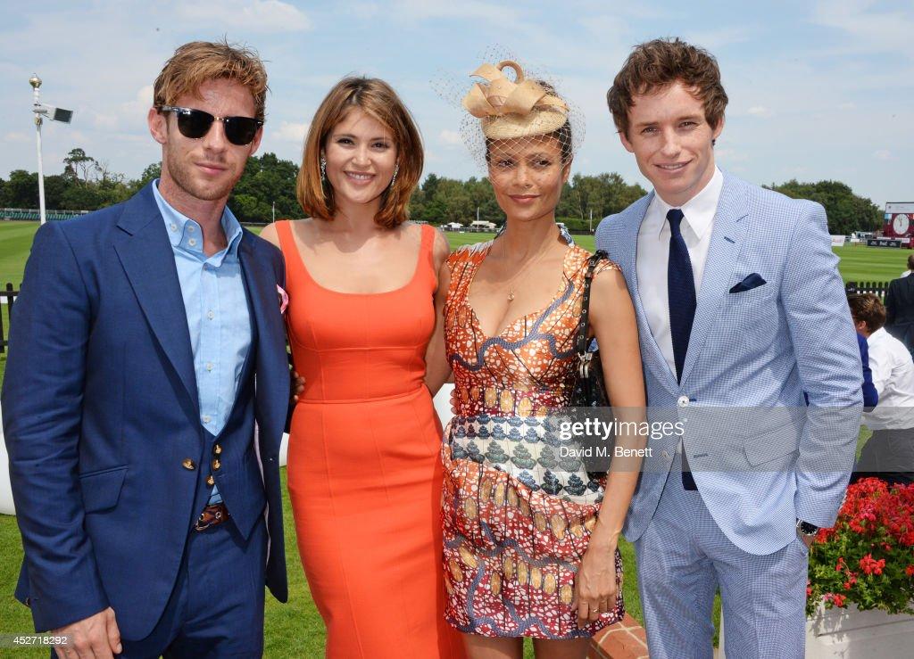 Luke Treadaway Gemma Arterton Thandie Newton and Eddie Redmayne attend Audi International at Guards Polo Club near Windsor to support England as it...