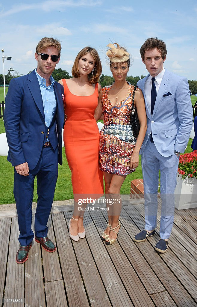Luke Treadaway Gemma Arterton Thandie Newton and Eddie Redmayne attend Audi International at Guards Polo Club near Windsor to support England as it...