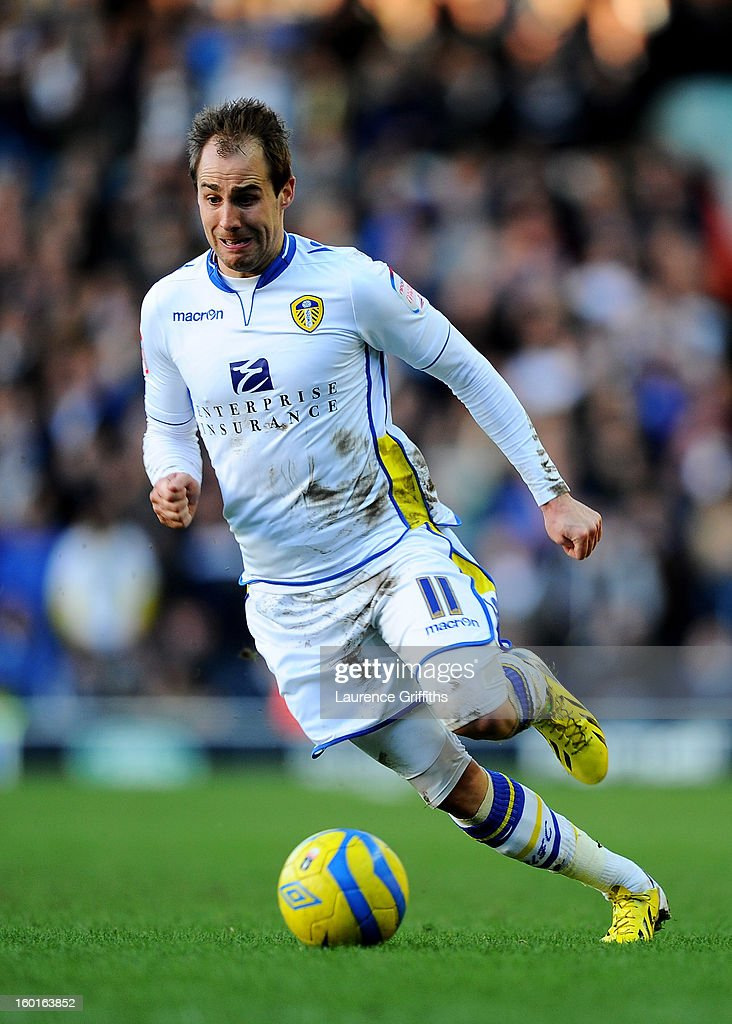 Luke Varney of Leeds runs with the ball during the FA Cup with Budweiser Fourth Round match between Leeds United and Tottenham Hotspur at Elland Road on January 27, 2013 in Leeds, England.