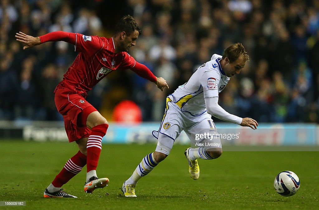 Luke Varney of Leeds United competes with Daniel Seaborne of Southampton during the Capital One Cup Fourth Round match between Leeds United and Southampton at Elland Road on October 30, 2012 in Leeds, England.
