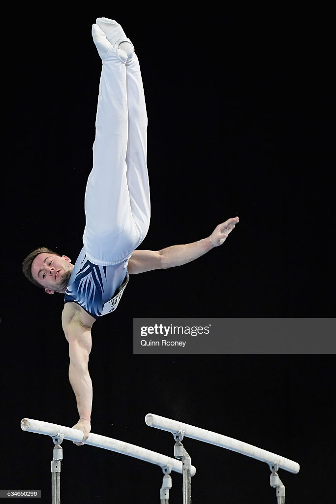 Luke Wadsworth of Victoria competes on the parrallel bars during the 2016 Australian Gymnastics Championships at Hisense Arena on May 27, 2016 in Melbourne, Australia.