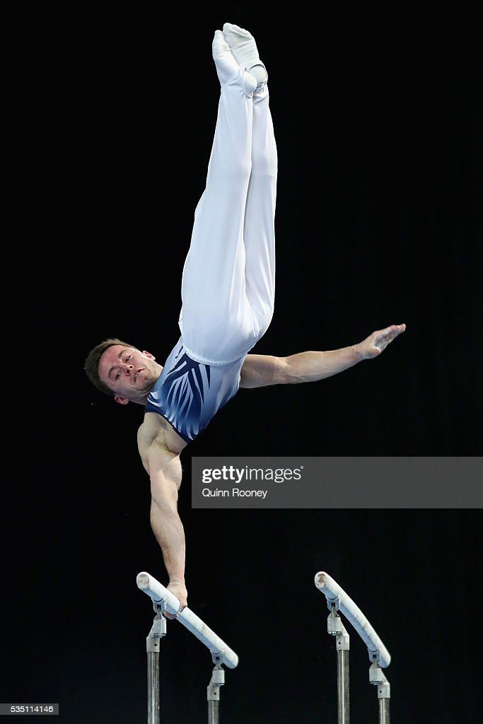 Luke Wadsworth of Victoria competes on the parrallel bars during the 2016 Australian Gymnastics Championships at Hisense Arena on May 297, 2016 in Melbourne, Australia.