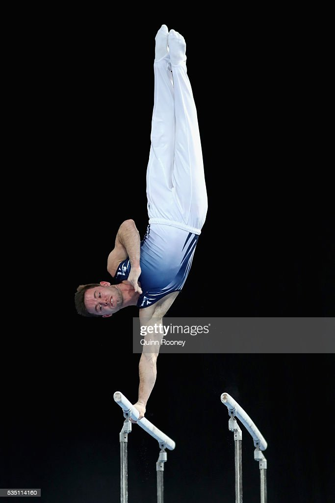 Luke Wadsworth of Victoria competes on the parrallel bars during the 2016 Australian Gymnastics Championships at Hisense Arena on May 297 2016 in...