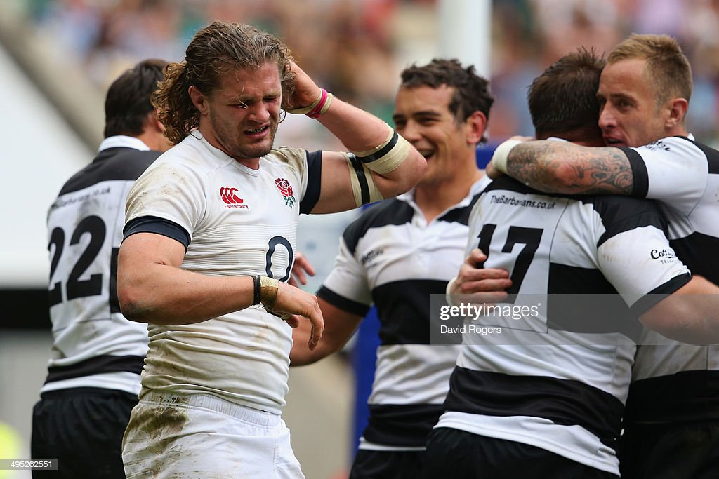 <a gi-track='captionPersonalityLinkClicked' href=/galleries/search?phrase=Luke+Wallace+-+Rugby+Player&family=editorial&specificpeople=7156608 ng-click='$event.stopPropagation()'>Luke Wallace</a> of England reacts during the Rugby Union International Match between England and The Barbarians at Twickenham Stadium on June 1, 2014 in London, England.