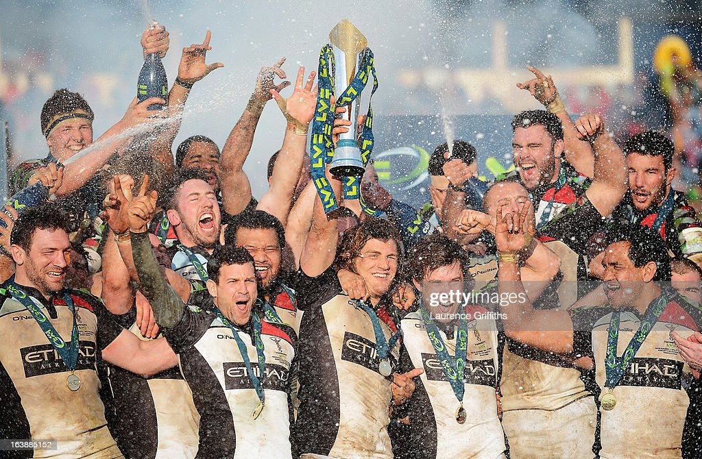 Luke Wallace of Harlequins lifts the trophy with team mates after the LV= Cup Final between Sale Sharks and Harlequins at Sixways Stadium on March 17, 2013 in Worcester, England.