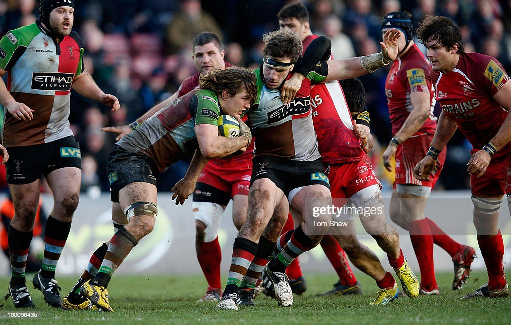 Luke Wallace of Quins waits with the ball during the LV= Cup match between Harlequins and London Welsh at Twickenham Stoop on January 26, 2013 in London, England.