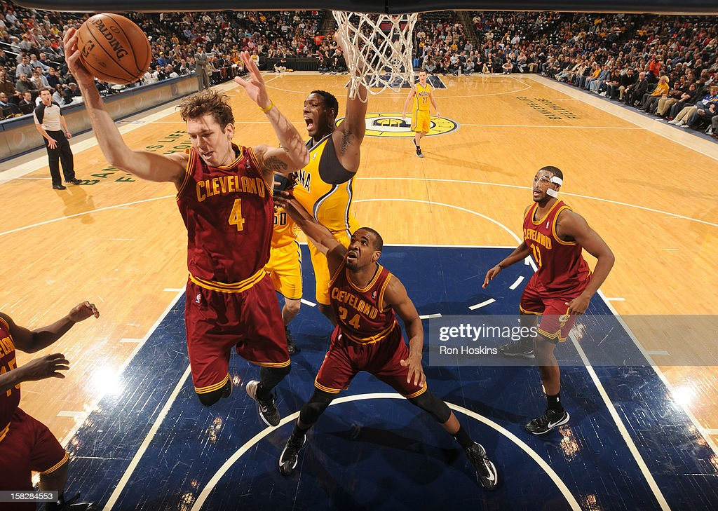 <a gi-track='captionPersonalityLinkClicked' href=/galleries/search?phrase=Luke+Walton+-+Basketball+Player&family=editorial&specificpeople=202565 ng-click='$event.stopPropagation()'>Luke Walton</a> #4 of the Cleveland Cavaliers grabs a rebound during the game between the Indiana Pacers and the Cleveland Cavaliers on December 12, 2012 at Bankers Life Fieldhouse in Indianapolis, Indiana.