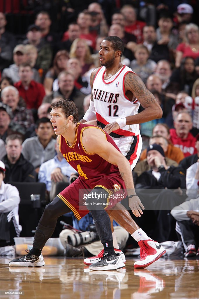 <a gi-track='captionPersonalityLinkClicked' href=/galleries/search?phrase=Luke+Walton&family=editorial&specificpeople=202565 ng-click='$event.stopPropagation()'>Luke Walton</a> #4 of the Cleveland Cavaliers is defended by <a gi-track='captionPersonalityLinkClicked' href=/galleries/search?phrase=LaMarcus+Aldridge&family=editorial&specificpeople=453277 ng-click='$event.stopPropagation()'>LaMarcus Aldridge</a> #12 of the Portland Trail Blazers on January 16, 2013 at the Rose Garden Arena in Portland, Oregon.