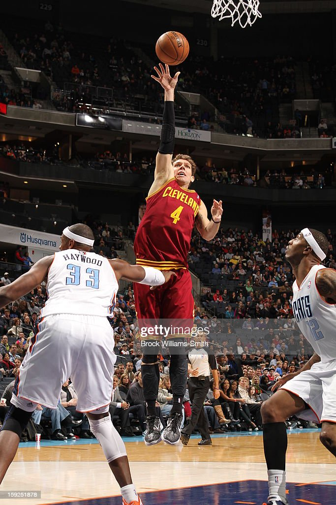 <a gi-track='captionPersonalityLinkClicked' href=/galleries/search?phrase=Luke+Walton&family=editorial&specificpeople=202565 ng-click='$event.stopPropagation()'>Luke Walton</a> #4 of the Cleveland Cavaliers puts up a shot against the Charlotte Bobcats at the Time Warner Cable Arena on January 4, 2013 in Charlotte, North Carolina.