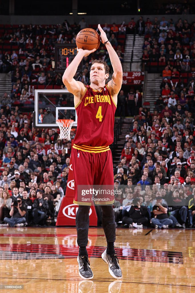 <a gi-track='captionPersonalityLinkClicked' href=/galleries/search?phrase=Luke+Walton&family=editorial&specificpeople=202565 ng-click='$event.stopPropagation()'>Luke Walton</a> #4 of the Cleveland Cavaliers takes a shot against the Portland Trail Blazers on January 16, 2013 at the Rose Garden Arena in Portland, Oregon.
