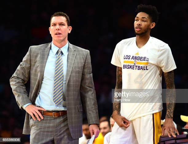 Luke Walton of the Los Angeles Lakers and Brandon Ingram react to play during the first half against the Cleveland Cavaliers at Staples Center on...