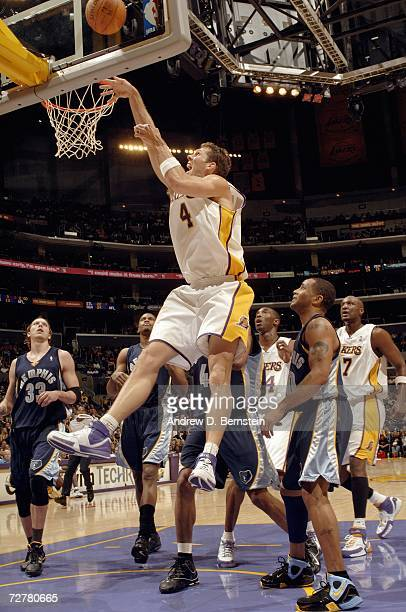 Luke Walton of the Los Angeles Lakers jumps high to attack the basket against the Memphis Grizzlies at Staples Center on November 12 2006 in Los...