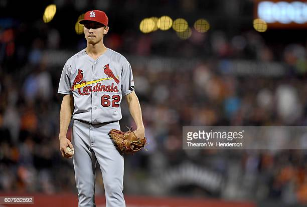 Luke Weaver of the St Louis Cardinals stands on the mound and waits for manager Mike Matheny to come take him out of the game against the San...