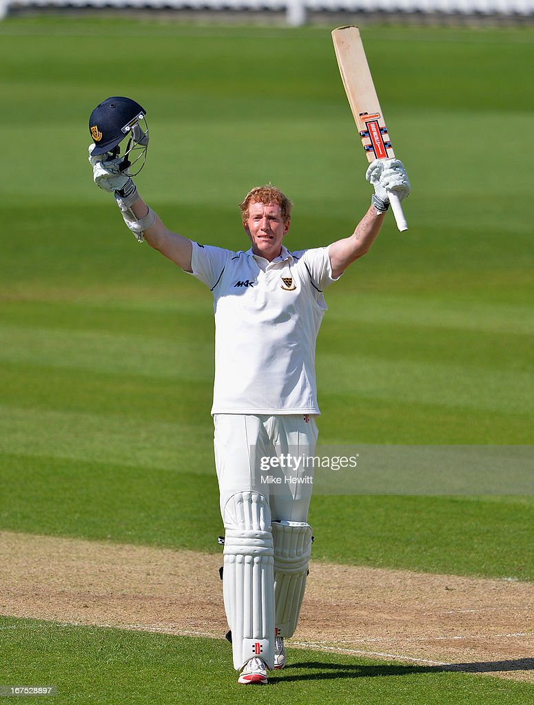 Luke Wells of Sussex celebrates reaching 200 during day three of the LV County Championship Division One match between Surrey and Sussex at The Kia Oval on April 26, 2013 in London, England.