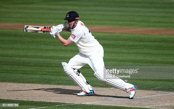 Luke Wells of Sussex hits outs during day one of the Specsavers County Championship Division Two match between Sussex and Essex at The 1st Central...