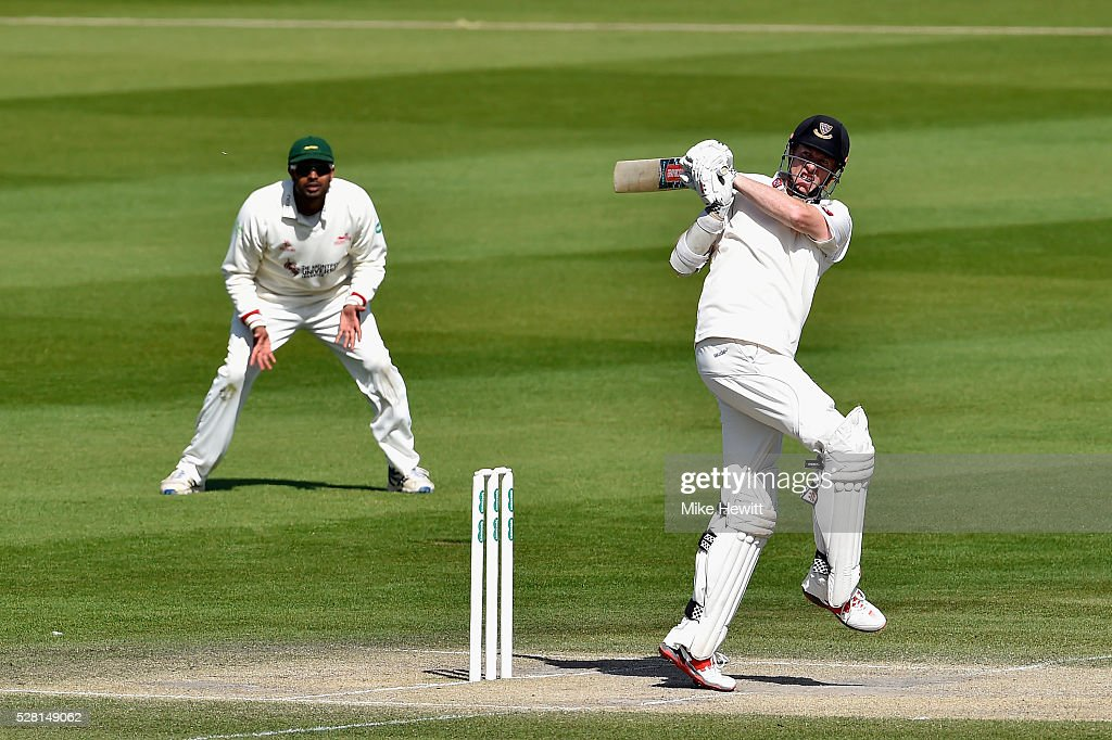 Luke Wells of Sussex hooks for four on the fourth day of the Specsavers County Championship Division Two match between Sussex and Leicestershire on May 04, 2016 in Hove, England.