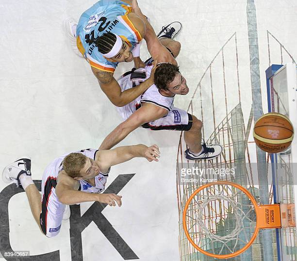 Luke Whitehead of the Blaze and Luke Kendall of the Wildcats compete for a rebound during the round 12 NBL match between the Gold Coast Blaze and the...