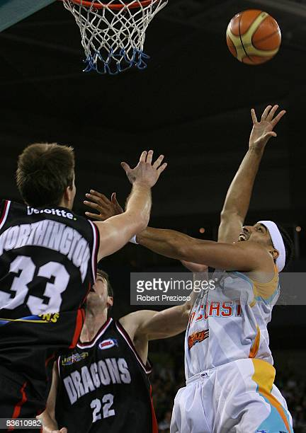 Luke Whitehead of the Blaze has a shot for goal during the round eight NBL match between the South Dragons and the Gold Coast Blaze at Hisense Arena...