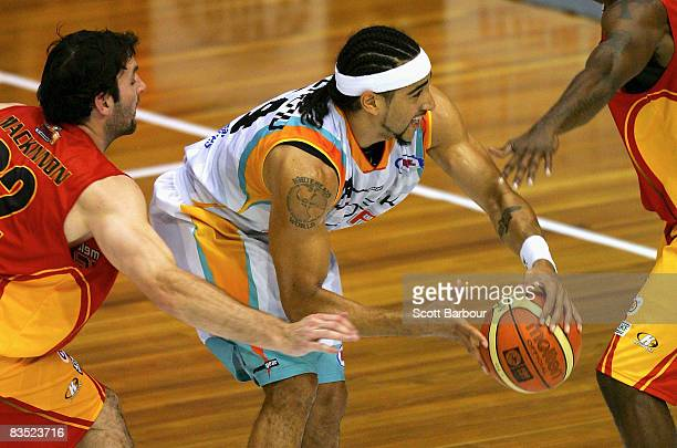 Luke Whitehead of the Blaze in action during the round seven NBL match between the Melbourne Tigers and the Gold Coast Blaze at the State Netball...