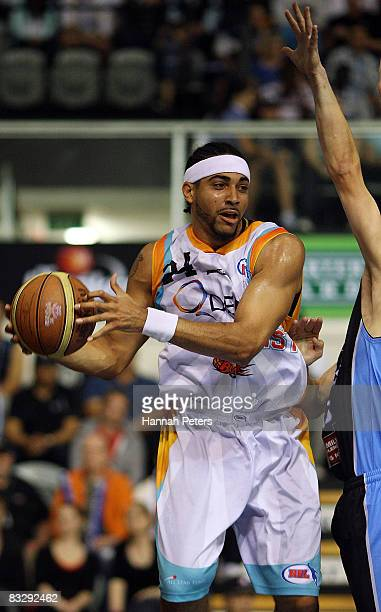 Luke Whitehead of the Blaze looks to pass during the round five NBL match between the New Zealand Breakers and the Gold Coast Blaze at the North...