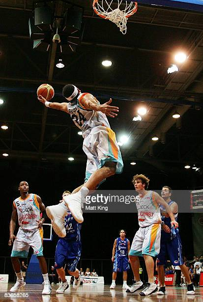 Luke Whitehead of the Blaze rebounds during the round nine NBL match between the Sydney Spirit and the Gold Coast Blaze at the Sydney Olympic Park...