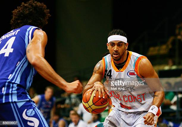 Luke Whitehead of the Blaze takes on the Spirit defence during the round nine NBL match between the Sydney Spirit and the Gold Coast Blaze at the...