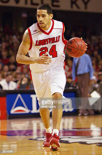 Luke Whitehead of the Louisville Cardinals moves the ball during the game against the Seton Hall Pirates on December 10 2003 at Freedom Hall in...