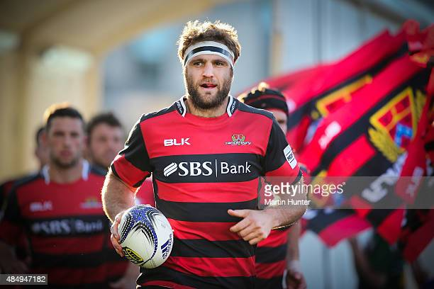 Luke Whitelock new Canterbury captain leads out his team prior to the round two ITM Cup match between Canterbury and Counties Manukau at AMI Stadium...