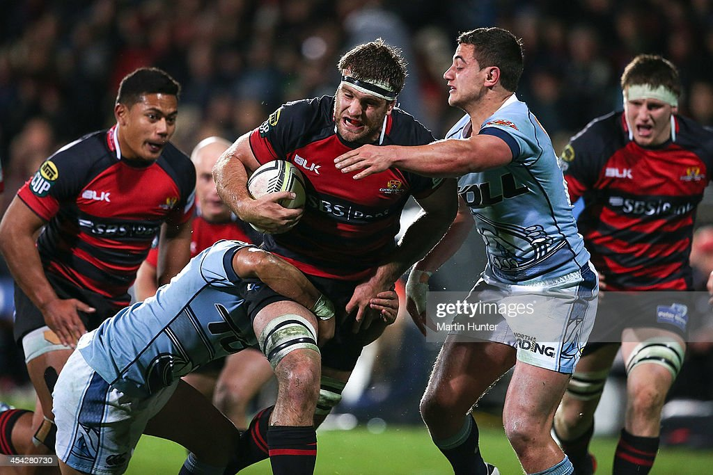 <a gi-track='captionPersonalityLinkClicked' href=/galleries/search?phrase=Luke+Whitelock&family=editorial&specificpeople=7045783 ng-click='$event.stopPropagation()'>Luke Whitelock</a> of Canterbury breaks through tackles during the round three ITM Cup match between Canterbury and Northland at AMI Stadium on August 28, 2014 in Christchurch, New Zealand.