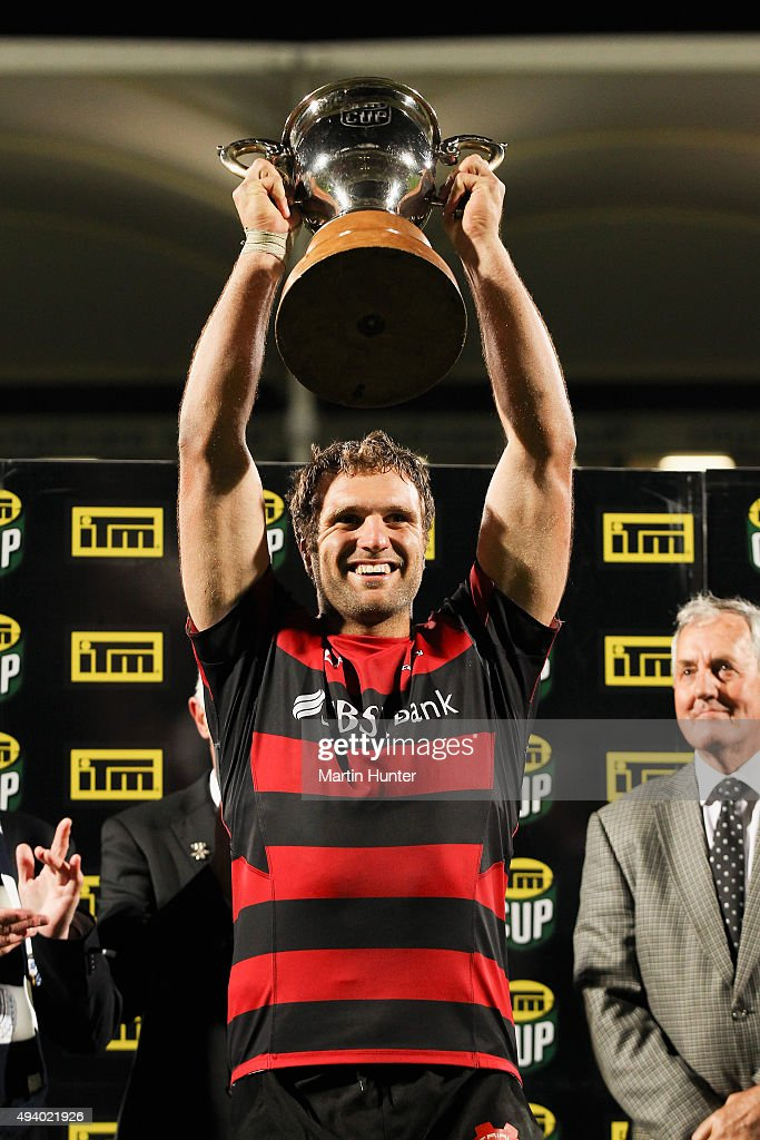 <a gi-track='captionPersonalityLinkClicked' href=/galleries/search?phrase=Luke+Whitelock&family=editorial&specificpeople=7045783 ng-click='$event.stopPropagation()'>Luke Whitelock</a> of Canterbury holds aloft the ITM Cup after the ITM Cup Premiership Final between Canterbury and Auckland at AMI Stadium on October 24, 2015 in Christchurch, New Zealand.