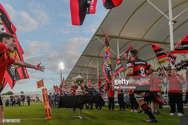 Luke Whitelock of Canterbury leads his team onto the field prior to the Mitre 10 Cup Premiership Final match between Canterbury and Tasman at AMI...