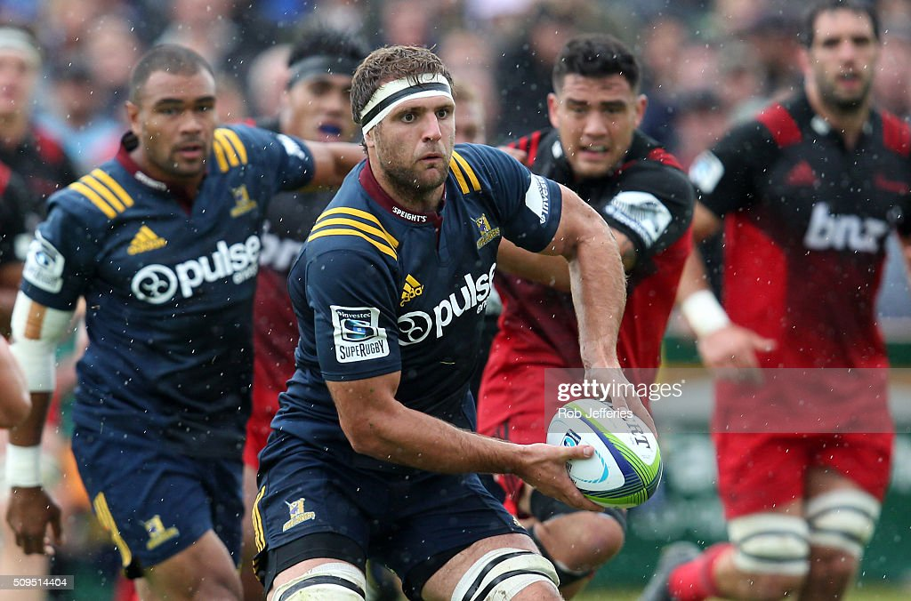 <a gi-track='captionPersonalityLinkClicked' href=/galleries/search?phrase=Luke+Whitelock&family=editorial&specificpeople=7045783 ng-click='$event.stopPropagation()'>Luke Whitelock</a> of the Highlanders looks to pass the ball during the Super Rugby trial match between the Highlanders and the Crusaders at Fred Booth Park on February 11, 2016 in Waimumu, New Zealand.