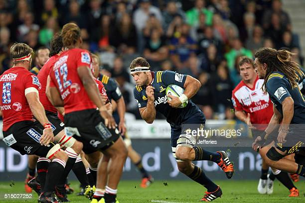 Luke Whitelock of the Highlanders on the charg during the round three Super Rugby match between the Highlanders and the Lions at Rugby Park on March...