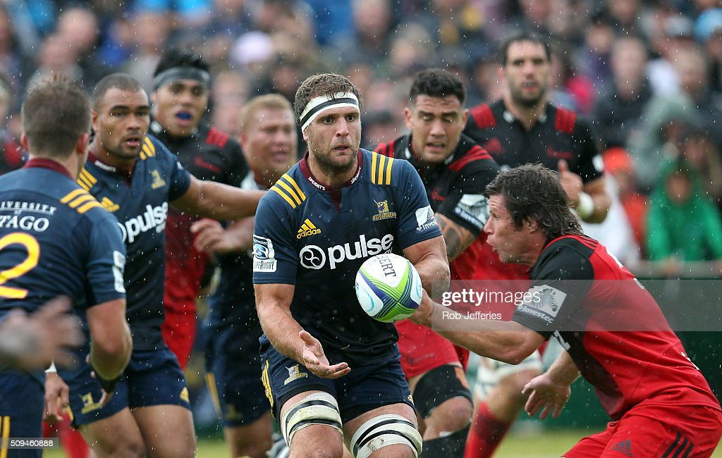 <a gi-track='captionPersonalityLinkClicked' href=/galleries/search?phrase=Luke+Whitelock&family=editorial&specificpeople=7045783 ng-click='$event.stopPropagation()'>Luke Whitelock</a> of the Highlanders passes the ball during the Super Rugby trial match between the Highlanders and the Crusaders at Fred Booth Park on February 11, 2016 in Waimumu, New Zealand.