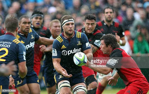 Luke Whitelock of the Highlanders passes the ball during the Super Rugby trial match between the Highlanders and the Crusaders at Fred Booth Park on...