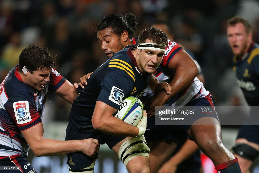 Luke Whitelock of the Highlanders tries to break the defence during the round six Super Rugby match between the Highlanders and the Rebels at Forsyth Barr Stadium on March 31, 2017 in Dunedin, New Zealand.