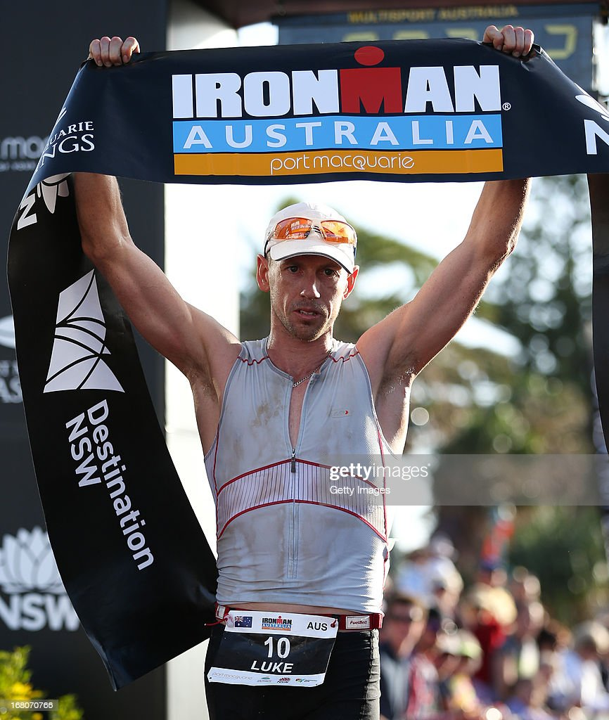 Luke Whitmore of Australia celebrates 3rd place in the Port Macquarie round of the 2013 Ironman Australia series on May 5, 2013 in Port Macquarie, Australia.