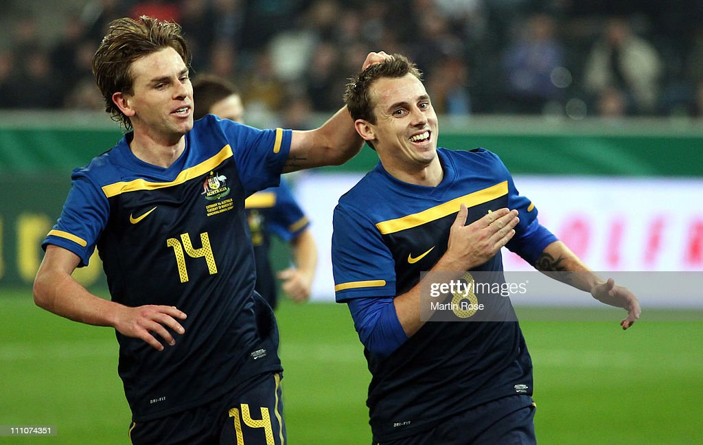 Luke Wilkshire of Australia celebrates after he scores his team's 2nd goal during the international friendly match between Germany and Australia at...